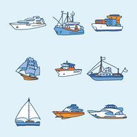 Blauwe en oranje boten en trawler vectoren