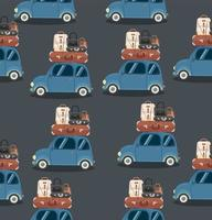 miniauto met reisbagage op het dak vector