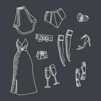 Bruiloftspullen getrokken als een schoolbord vector