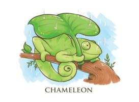 Kameleon Cartoon afbeelding vector