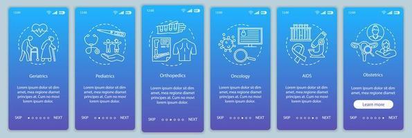 medisch centrum onboarding mobiele app-paginascherm vector