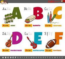 educatieve cartoon voor kinderen van a tot f vector