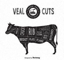 Het kalfsvlees snijdt Vectordiagram in Uitstekende Stijl