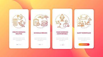 thuiskantoor, freelance onboarding mobiele app-pagina vector