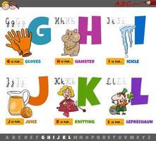 educatieve letters voor kinderen van g tot l vector