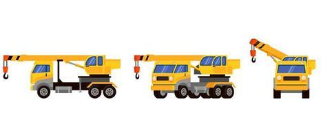 vrachtwagenkraan in verschillende hoeken vector