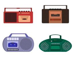 set retro bandrecorders vector
