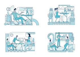 werknemers coworking set vector
