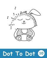 punt naar punt met schattig konijn vector