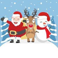 kerstman, rendieren en sneeuwpop in de winteromgeving