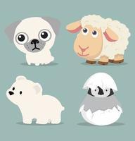 verzameling dieren, waaronder hond, beer, eend en schapen
