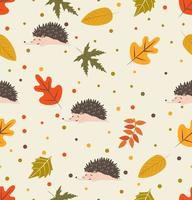naadloze patroon van egels en herfstbladeren vector