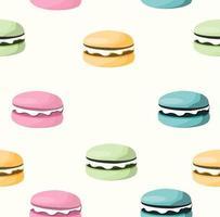 naadloze patroon van kleurrijke macarons vector