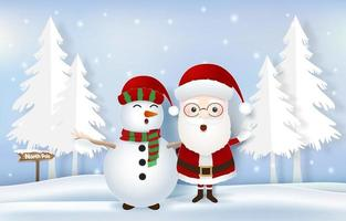 kerstman met sneeuwpop en noordpool-tag vector