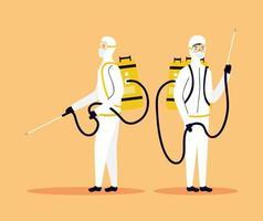 coronaviruspreventie bij desinfectie van mensen op een gevarenpak