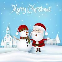 kerstman met sneeuwpop in papieren kunststijl vector