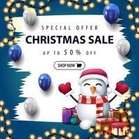Kerstmis witte en blauwe kortingsbanner met penseelstreken vector