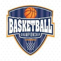basketbal kampioenschap sport schild embleem met bal vector