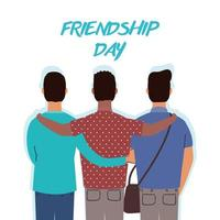 gelukkige jonge mannen knuffelen voor de viering van de dag van de vriendschap vector