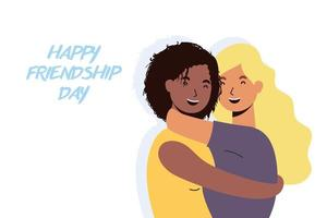 gelukkige jonge vrouwen knuffelen voor de viering van de dag van de vriendschap vector