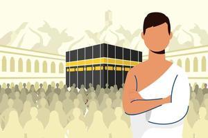 hadj-bedevaartsfeest met de mens in een kaaba-scène vector