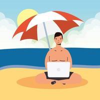 man met laptop op het strand, zomers tafereel vector