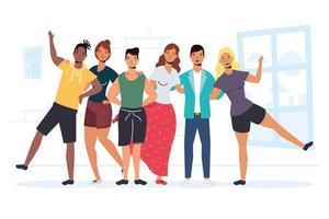 gelukkige jonge mensen voor de viering van de vriendschapsdag vector