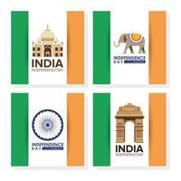 gelukkige indiase onafhankelijkheidsdag viering banner set vector