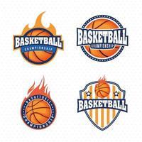 basketbal kampioenschap sport embleem set vector
