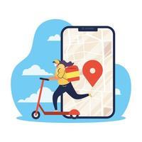 veilig online leveringsconcept met koeriersmedewerker vector