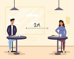 mensen die eten in een restaurant met sociale afstand vector