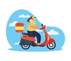veilig leveringsconcept met koeriersarbeider vector