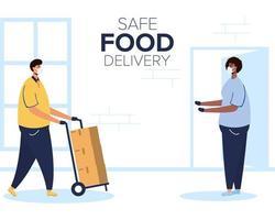 veilige voedselleveringsbanner met werknemer en klant vector