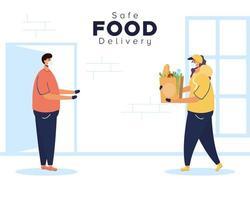 veilige voedselleveringsbanner met werknemer en klant