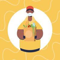 veilige voedselbezorgingsbanner met werknemer en boodschappen vector