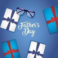 vaders dag banner met geschenkdozen vector