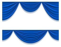 blauw theatraal gordijn set vector