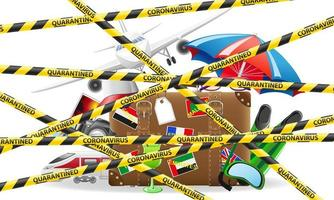 gestreepte beschermende tape die toeristische reizen naar het buitenland verbiedt