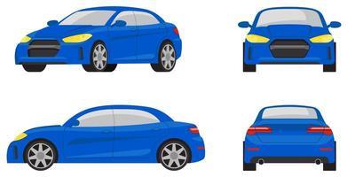sedan auto in verschillende weergaven vector
