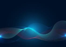 abstracte blauwe golflijn met halftoon op donkere achtergrond vector
