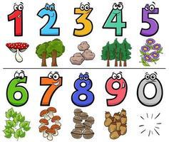 educatieve cartoonnummers instellen met natuurobjecten