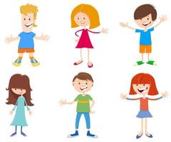 cartoon gelukkige kinderen tekens instellen