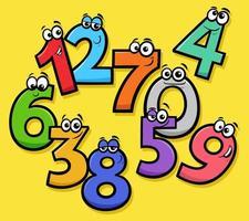 basisnummers cartoon grappige karakters groep