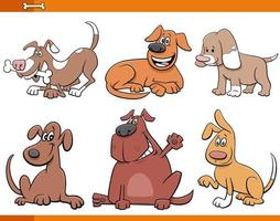 cartoon honden en puppy's dierlijke karakters instellen