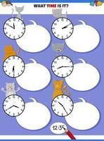 educatieve taak vertellen met kattenkarakters vector