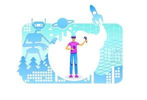 cyber ruimte poster vector