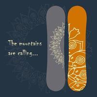 print voor snowboard. vector