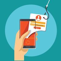 Phishing-gegevens via mobiele internettelefoon vector
