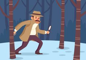 Detective op zoek naar voetafdruk