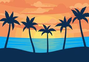 Zonsondergang Palmier Illustratie Vectoren